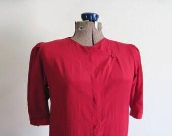 Vintage Silk Blouse 1980s Asymmetrical