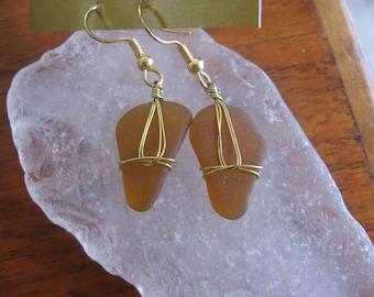 Wonderful Amber Lake Superior Beach Glass Earrings