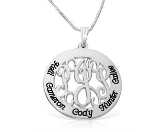 Monogram Circle White Gold Engraved Necklace Engraved Customized Monogram Pendant Monogram Engraved Necklace Monogram White Gold Monogram
