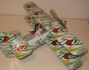 7 up Diet Soda Can Airplane - Handcrafted-Wind Spinner-sun catcher-air plane