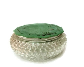 Glass Powder Jar Green Celluloid Decorative Cover |  Bakelite Heisey Glass