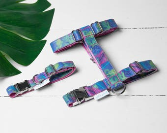 """Dog Harness or Cat Harness """"Tropical Leaf Harness"""" Adjustable Harness and Leash Set"""