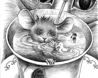 Dormouse and Cheshire Cat - 8 x 10 giclee print