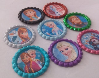 Set of 8 multi-color Disney's Frozen themed bottle cap magnets