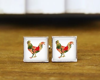 chicken cufflinks, big cock cuff links, custom personalized gifts, custom wedding cufflinks, round, square cufflinks, tie clips or set