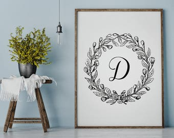 Initial Print, Custom Initial Art, Monogram Print, Typography Print, Family Initial, Custom Letter, Printable Art, Instant Download