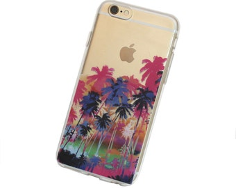 Palm Tree Paradise Phone Case for iPhone 5, SE, 6, 6 Plus, 7, 7Plus, 8, 8 Plus and X. TPU or Wood Options