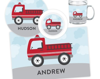 Fire Truck Plate, Bowl, Mug or Placemat - Fire Truck Dinnerware Set - Personalized Melamine Plate for Kids - Children Plates