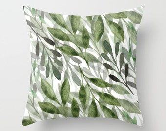 Leaves Throw Pillow Cover - Botanical Pillow Cover - Green Leaves Throw Pillow Cover -Leaves Cushion Cover - Modern Decor -