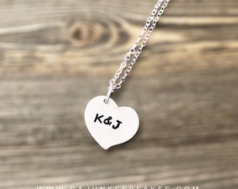 Dainty Heart Necklace   Necklace   Custom   Personalized Handstamped Jewelry   Customized Heart Necklace