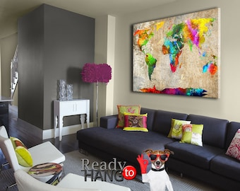 World map wall art canvas world map print colorful world colorful map canvas world map art wall art world map colorful world map gumiabroncs Images