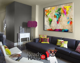 Colorful Map Canvas, World Map Art, Wall Art World map, Colorful World Map, World map canvas art, Color World Map, Canvas Print World Map