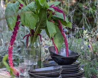6 - 3 piece Black Ceramic Dinnerware, Dinnerware Set, Stoneware Dinnerware, Pottery Dinnerware, Wedding gift, Handmade Dinnerware, set for 6