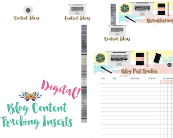 Happy Planner Blog Content Planner and Tracker Inserts Printable PDF