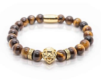 Lion Bracelet, brown Tiger Eye Beads