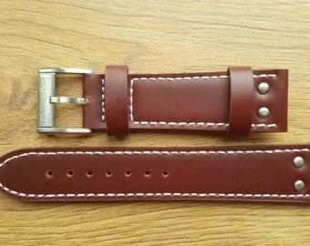 New 22mm Brown Leather Watch Strap With Hamilton Stamped Buckle