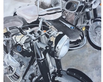 Sidecar 14 x 20 unframed Motorcycle pen and ink ORIGINAL Watercolor painting