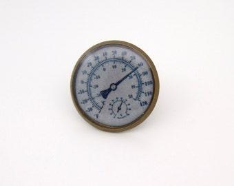 Steampunk Hygrometer Gauge Tie Tack in Antique Brass  16mm