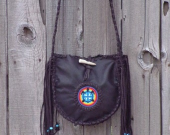 Leather tote , Brown leather tote , handmade tote , beaded brown tote , boho bag , turtle totem handbag ,  fringed leather totes