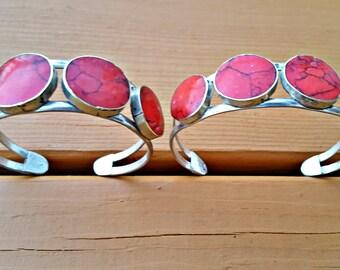 Coral bracelet- Vintage Tribal bracelet- Ethnic Bohemian Jewelry- Statement cuff- Bedouin Cuff bracelet- Vintage Hand made jewelry.