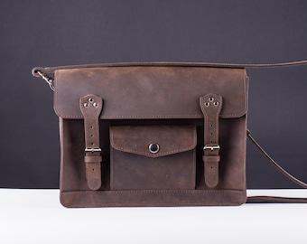 Leather satchel, leather messenger bag, Dark brown leather womens  satchel, leather cross body bag, leather shoulder bag, personalized bag
