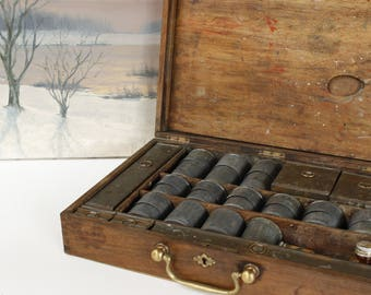 """French Antique Artist Paint Box.....15.1/2"""" x 10.1/2"""" x 3.1/2""""...Contents include Nineteen Metal Pots and Paint Board....Beautiful."""