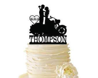 Couple with Motorcycle Cake Topper with Name and Date - Bride and Groom -  Standard Acrylic - Wedding Cake Topper - 137
