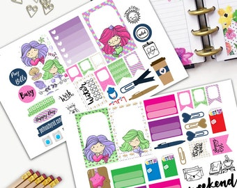 Mermaid have more fun Theme Planner Weekly Sticker SMALL Kit, CLASSIC Happy Planner Sticker, Weekly Set, Stickers, Printed, Cut, Ocean, Sea