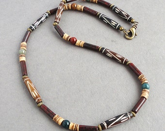 Mens Necklace Tribal Style Beaded Jewelry - Bone, Stone, Coco Shell, Brown, Green, Red, Handmade