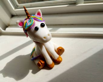 Custom Polymer Clay Unicorn Cake Topper/ Statue/ Rainbow/ Sculpture/ Keepsake/ Birthday/ Special Occasion/ Wedding/ Pastel/ Glitter Rainbow
