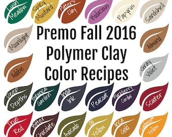 Premo brand Polymer Clay Color Recipe Ebook for Fall Winter 2016