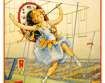 Vintage Sells Floto High Wire Circus Advertising Poster Print