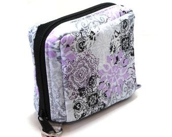 Essential Oil Roller Bottle Case Light Purple and Black Flowers on Gray
