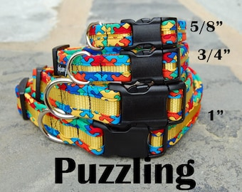StitchPet Dog Collar / Colorful Dog Collar /L Dog Collar/ Cool Dog Collar / Ready to Ship / Stitchpaint / Puzzle / Autism