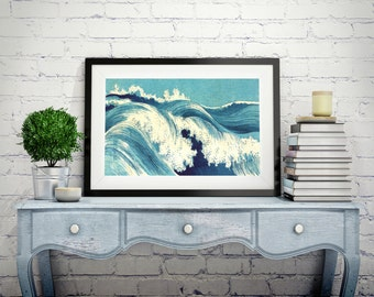 JAPANESE ART Japanese Wall Art Japanese Prints Japanese Wall Art Vintage Old Style Japanese Waves Home Decor Japanese Antique Wall Hangings