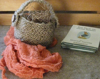 Hand Knit Jute Basket/Rustic/Natural/Unique/Moveable or Removable Handle/Handmade Wood Buttons/Ready to Ship
