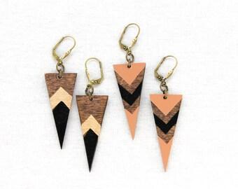 Voz Deco Dagger Earrings/ Triangle Dangle Earrings/ Chevron/ Art Deco/ Brass Clasp/ Painted Designs