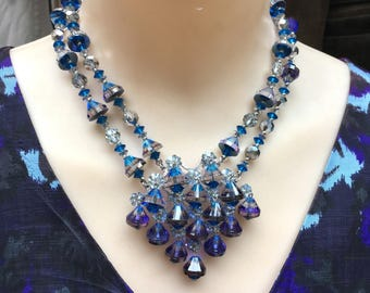 Glorious NOS NWT Vendome Blue Crystal Statement Necklace - Must See!