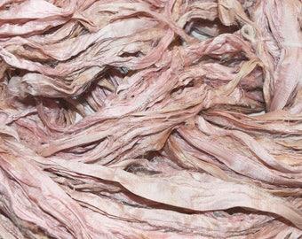 10 yards Light Pink Sari Pure Silk Ribbon Yarn for tassels Fair Trade