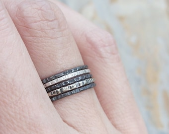 Sterling Silver Ombre Stacking Rings Set of 5 - Mixed Textured Stacking Rings in Black White and Gray