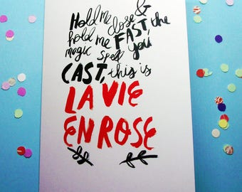 La vie En Rose A6 Greeting Card