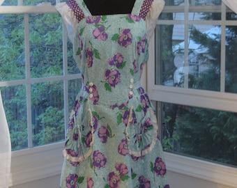 40s 50s Lee Wentley Vintage Teal Green Purple Smock Frock Summer Dress, Novelty Pockets,