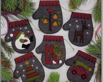 CHARCOAL MITTENS - Felt Kit to Make Six (6) Christmas Ornaments  By: Rachel's of Greenfield