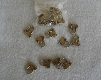 Set of 10 purse charms bronze