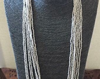 OFF WHITE RETRO style multi strand Statement Necklace with Seed & Brass Beads