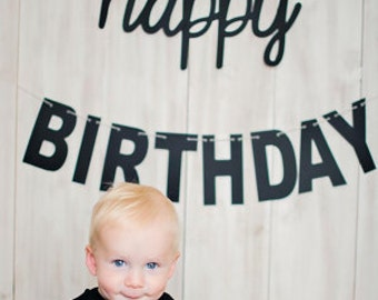 Mantel Banner, Cursive Font, Happy Birthday Banner, Cursive and Blocky letters, Black and White,Cursive Birthday Banner, Pary Photo Prop