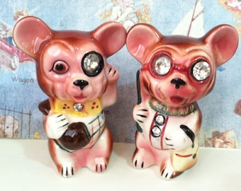 Vintage Lefton Mice Mouse or Bears Cubs Salt and Pepper Shakers Japan Antique Collectibles or Cake Toppers