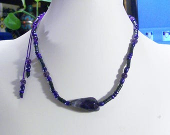 Amethyst  Stone Men's Masculine Wood And Nut Beads Adjustable
