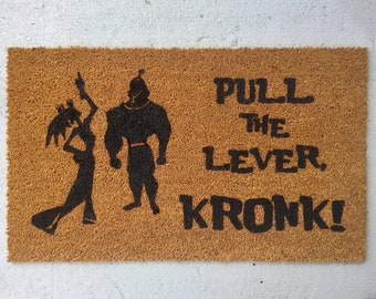 Disney doormat, Emperor's New Groove, Disney door mat, Pull the lever kronk, Yzma,magic kingdom home decor, kuzco, Funny doormat,Emperor,DVC