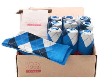 Groomsmen Socks Kit - Blue Argyle - Premium Cotton - 10 Pairs